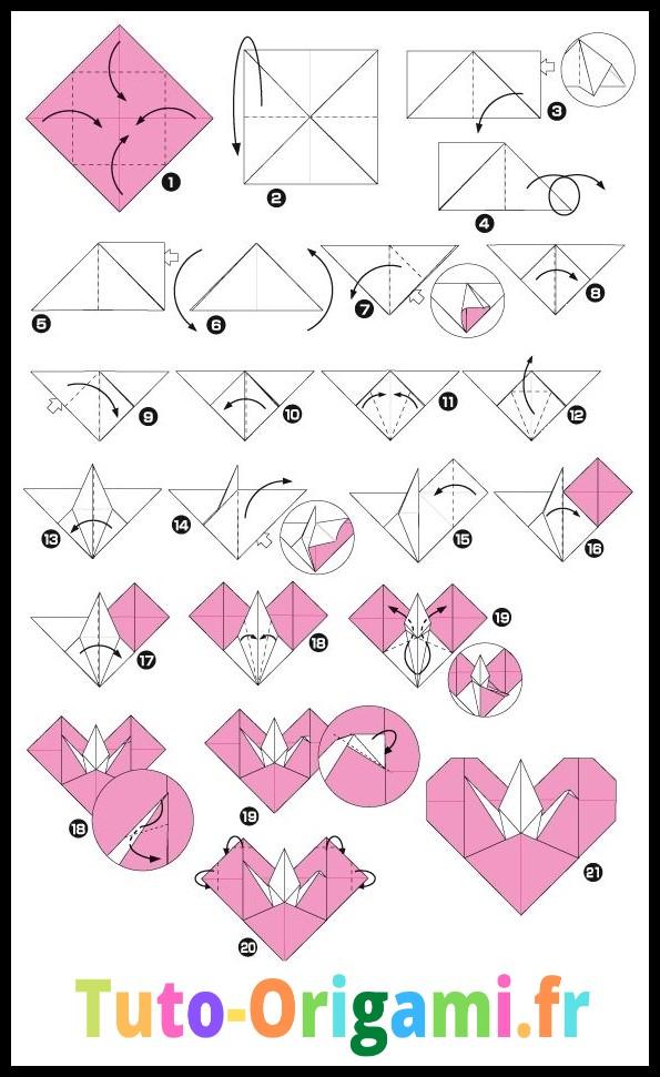 Coeur avec une grue à l'intérieur niveau difficile en origami