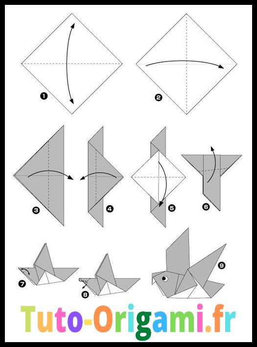 Oiseau en Origami Facile Tutoriel gratuit