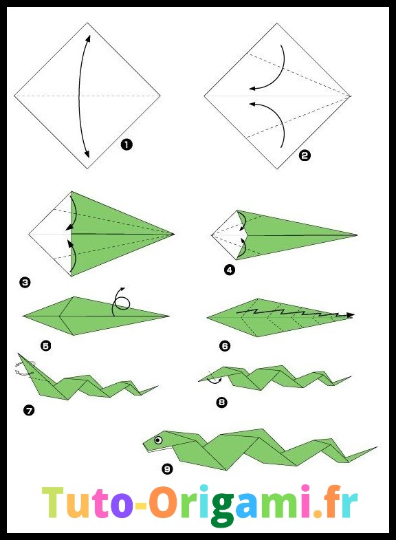 Serpent en Origami facile tutoriel gratuit