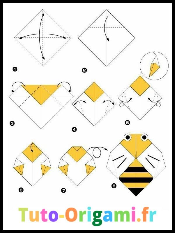Tutoriel D'Abeille en origami niveau facile