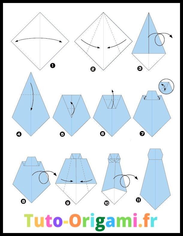 Tutoriel pour faire une cravate en origami