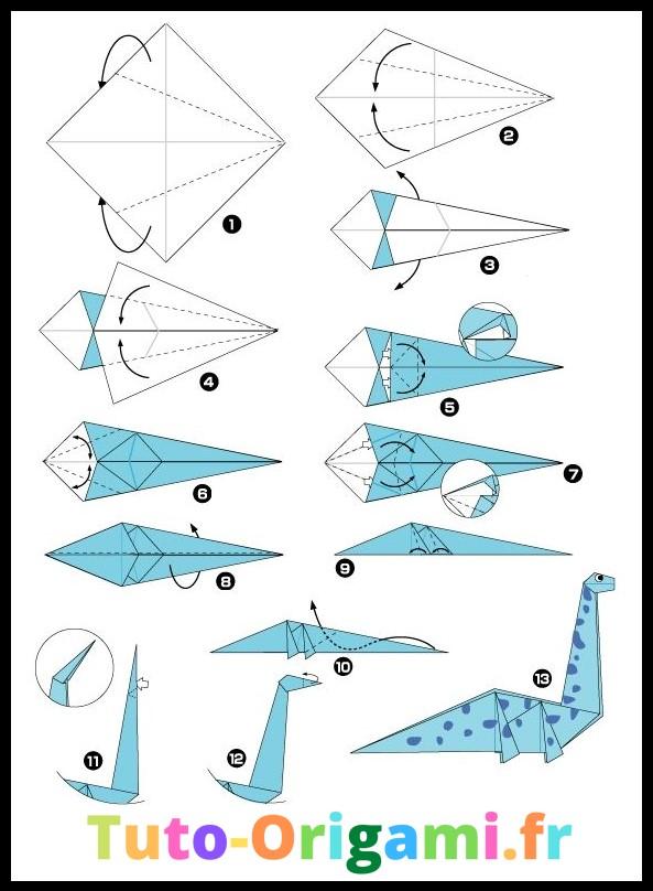 Diplodocus en origami tutoriel dinosaure niveau moyen