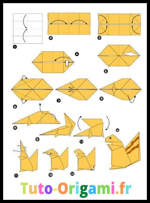 écureuil en origami tutoriel gratuit