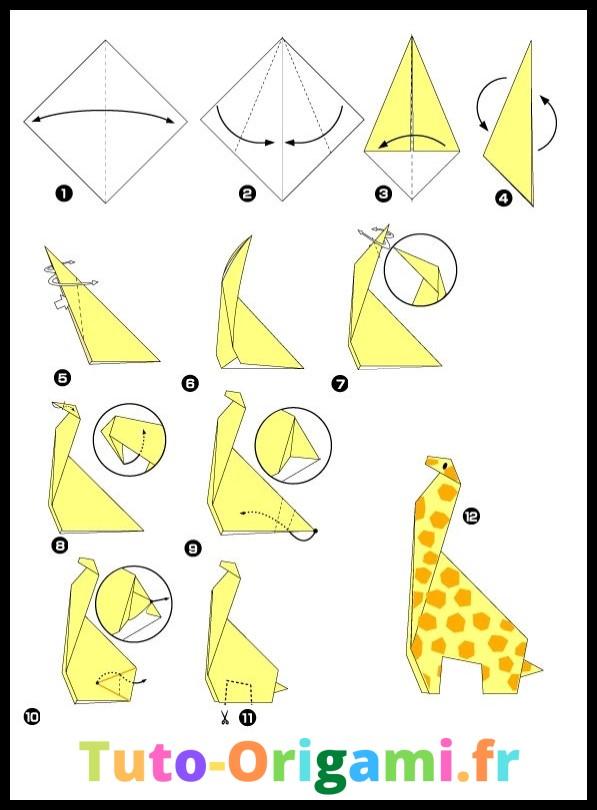 Girafe en origami tutoriel niveau moyen gratuit