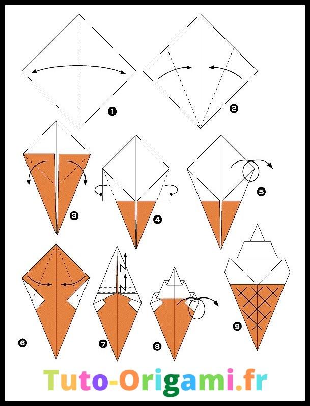 Glace en origami tutoriel facile et gratuit