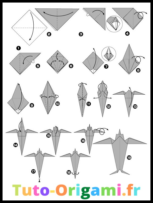 Hirondelle en origami tutoriel niveau moyen gratuit