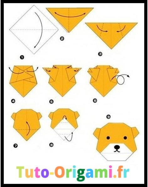 Tutoriel d'une tête d'ourson en origami