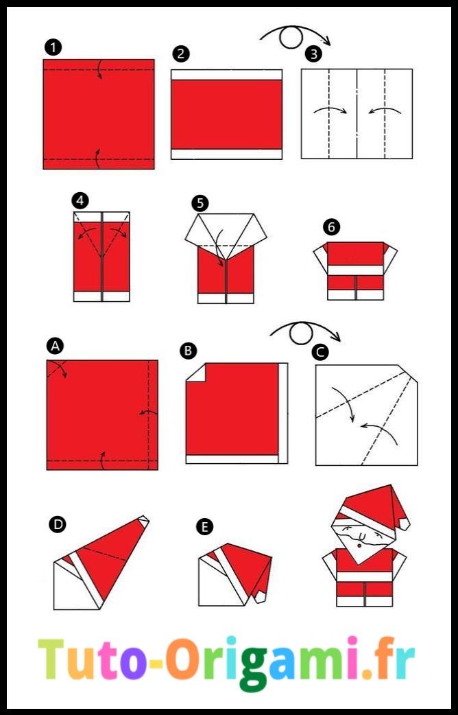 Pere noel en origami tutoriel facile