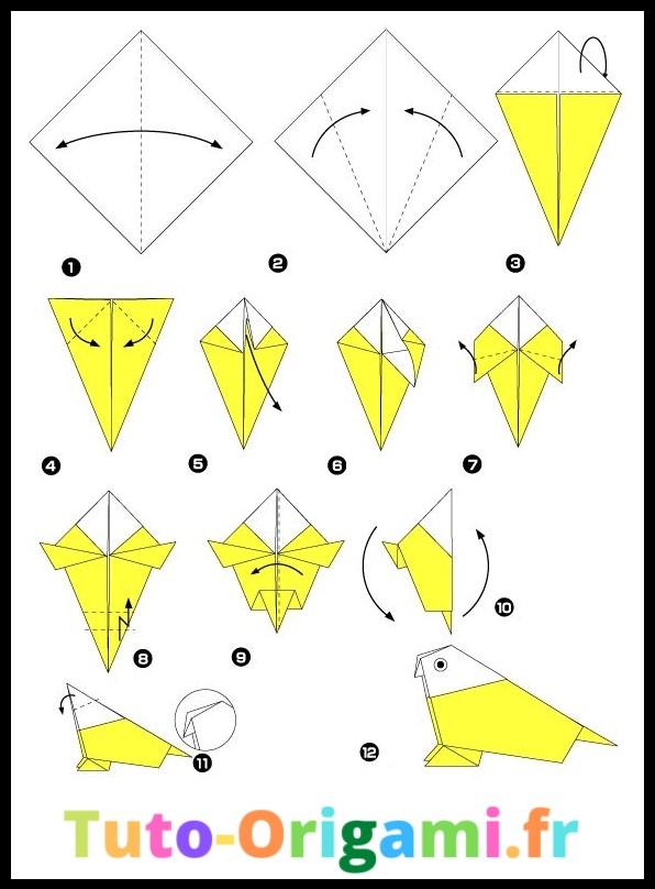 Tutoriel Petit Oiseau en origami niveau moyen gratuit