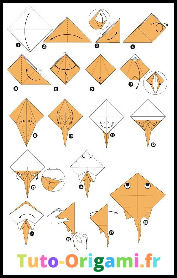 Raie en origami tutoriel difficile et gratuit