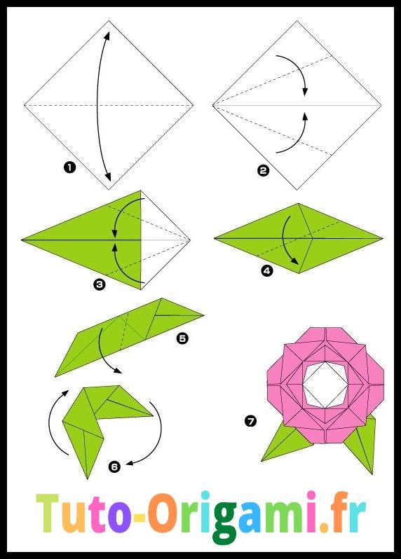 Rose en origami deuxième étapes