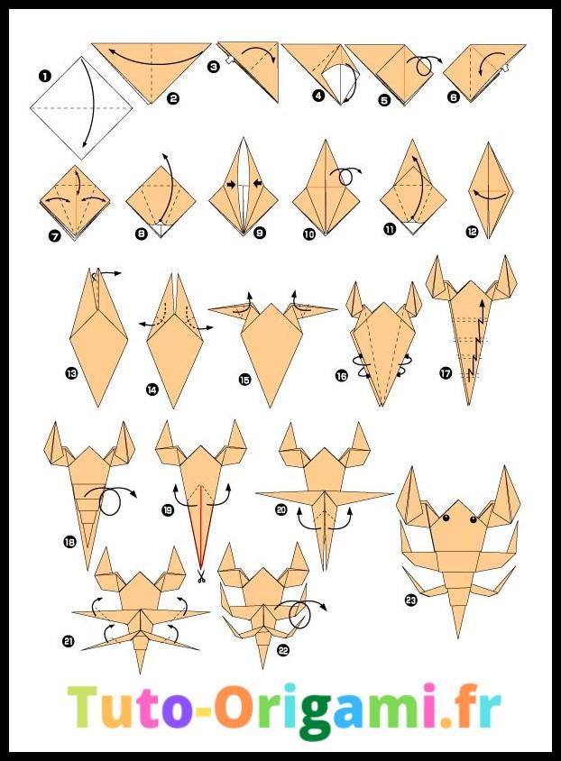 Tutoriel d'origami pour faire un scorpion niveau difficile