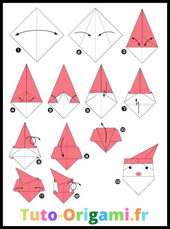 Tutoriel pour faire une tête de père noël en origami