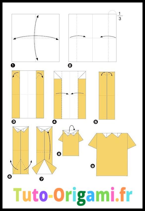 T-Shirt en origami tutoriel facile pour enfant et débutant