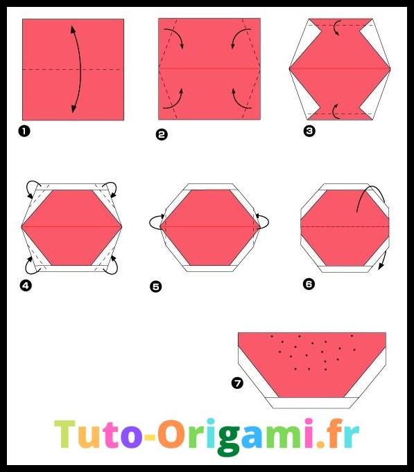 Tranche de pastèque en origami tutoriel facile et gratuit
